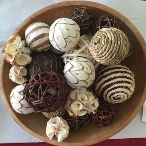 """Other - 12"""" Wooden Bowl with Decorative Balls"""